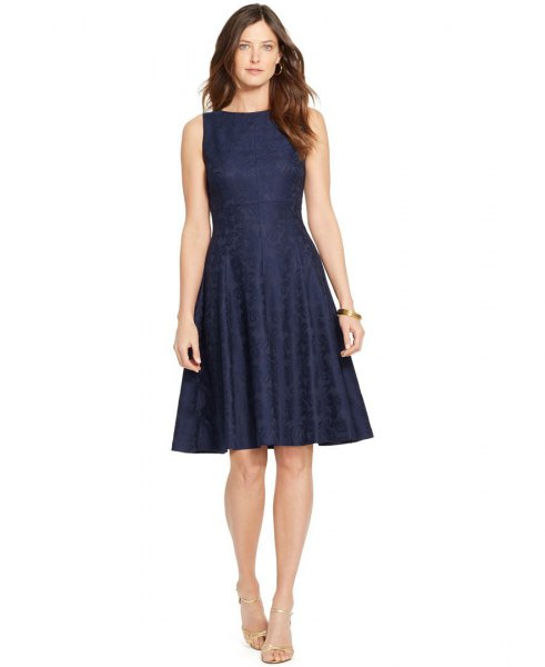 Navy fit and flare boat neck dress