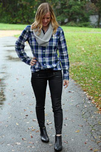 Navy flannel plaid shirt with gray infinity scarf