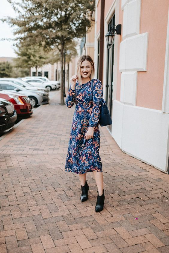 Navy floral dress ankle boots