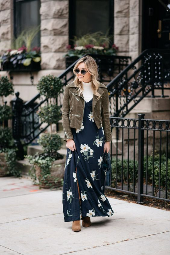 Layered navy floral dress