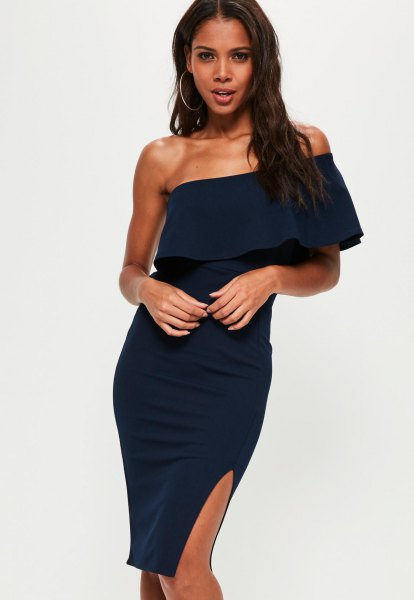 Navy folder one shoulder bodycon dress