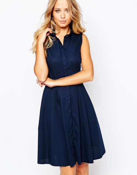 Navy knee-length flared sleeveless shirt dress