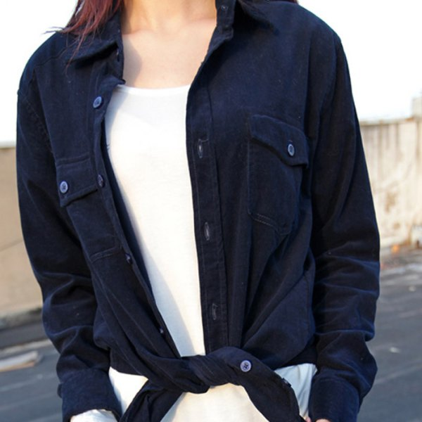 Navy knotted cord shirt over white top