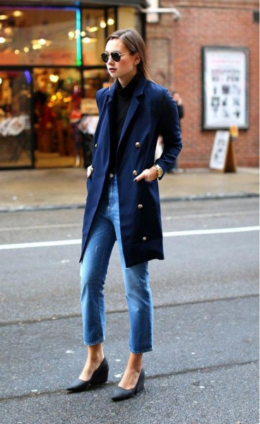 Navy long military blazer with blue ankle boots