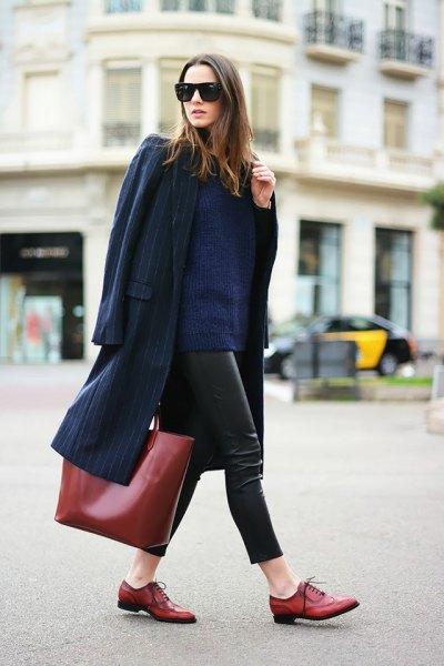 Dark blue wool coat with leather leggings and brown leather goat shoes