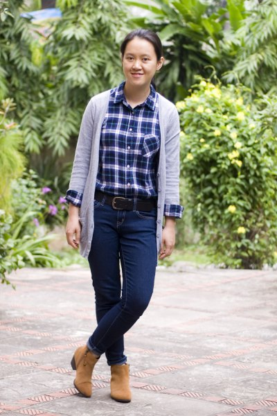 Dark blue checked shirt with gray longline cardigan and camel boots