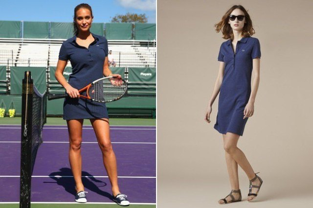 Navy polo shirt dress and sandals