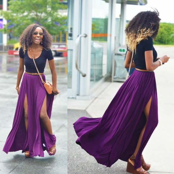 Navy fitted t-shirt with scoop neckline and purple pleated maxi skirt with double slit