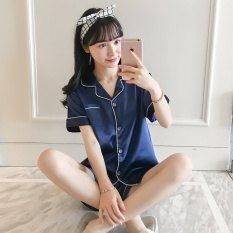 Navy shorts with matching pajama shirt with button closure