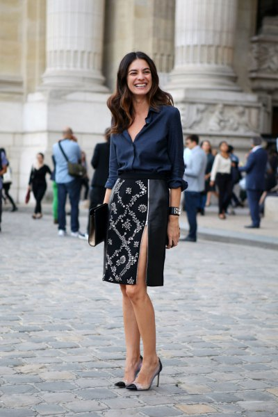 Dark blue silk blouse with buttons and black and silver midi skirt with sequins