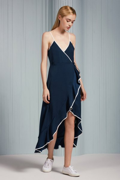 Navy Spaghetti Straps Maxi High Low Ruffle Wrap Dress