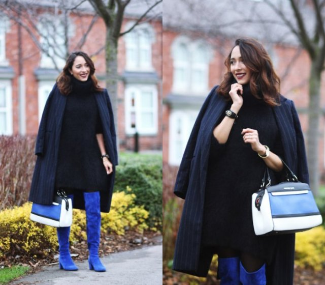 dark blue striped longline blazer with overknee boots made of royal blue suede