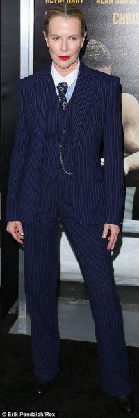 Navy striped slim fit 3-piece suit with white shirt and tie