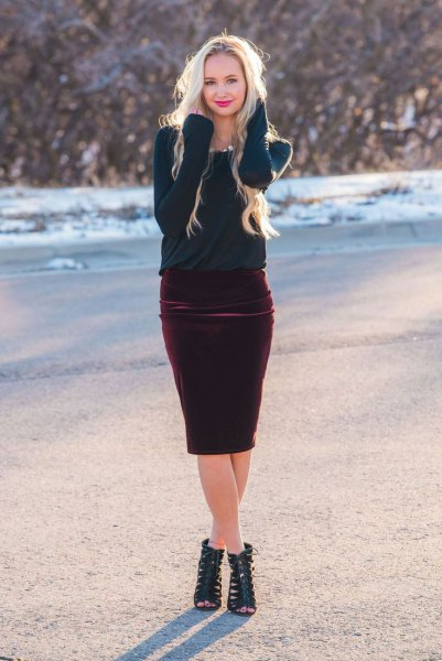 Navy sweater burgundy velvet skirt