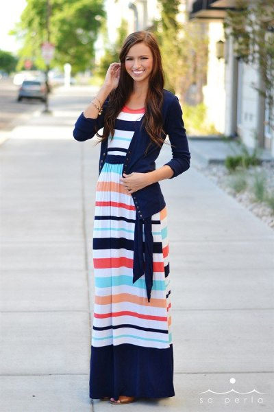 Navy cardigan with blue and white color block maternity maxi dress