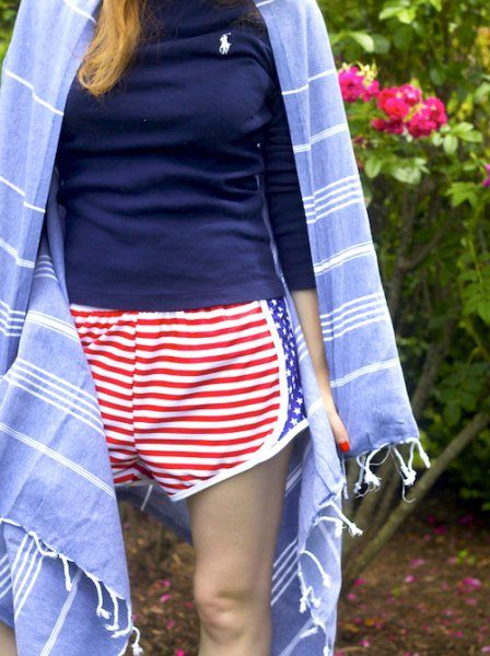 Navy t-shirt with red and white striped shorts and blue kimono
