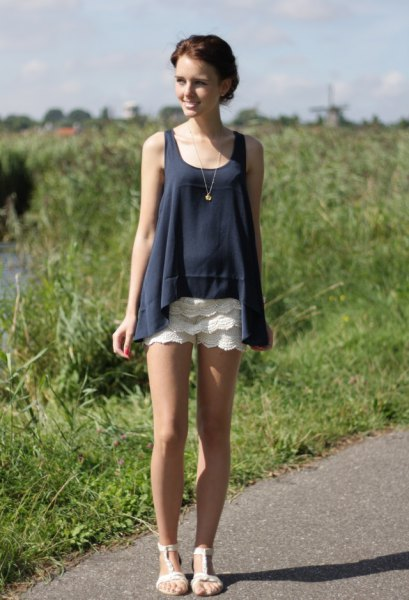 Navy tank top white lace shorts
