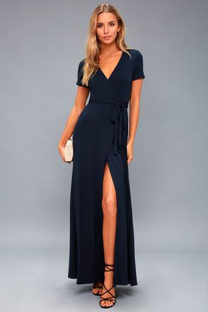 Evolve Navy Blue Wrap Maxi Dress 1 | Maxi wrap dress, Navy blue .