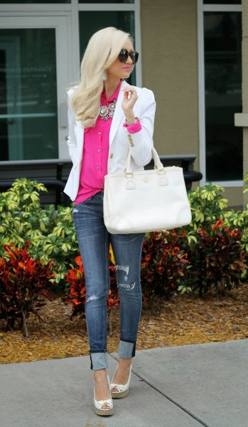 neon pink shirt with button and white blazer