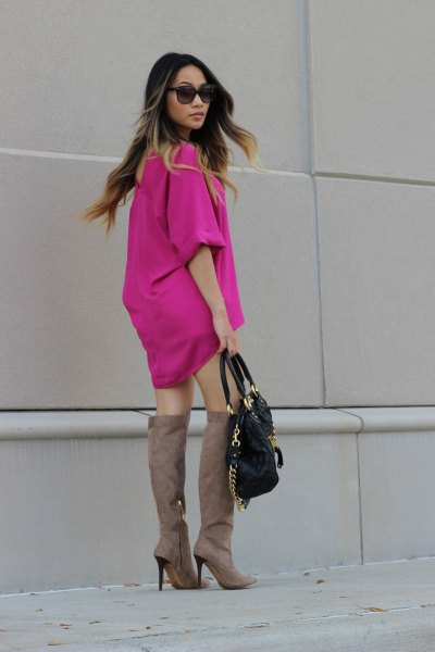 neon pink chiffon mini dress
