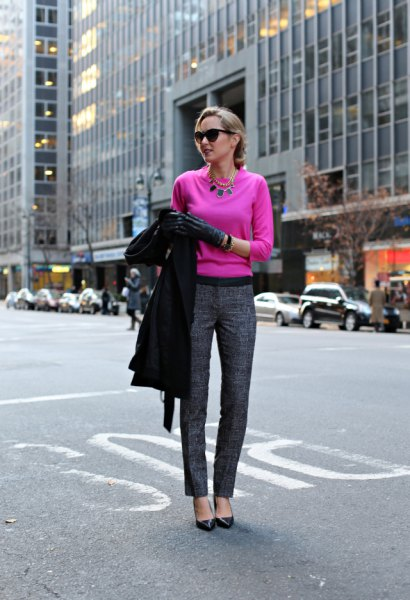 Neon pink sweater and gray tweed pants