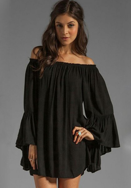 Off-the-shoulder babydoll mini dress with bell sleeves