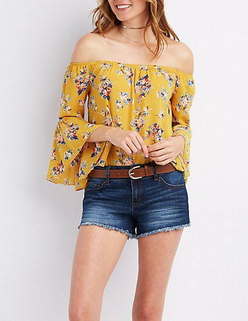 Floral Off-The-Shoulder Bell Sleeve Top | Shoulder tops outfit .