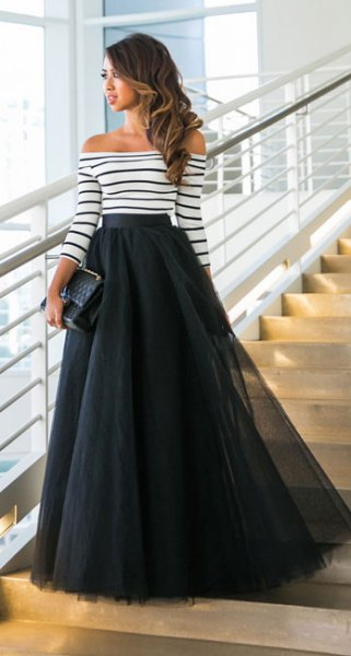 Off-the-shoulder striped long-sleeved maxi tulle skirt