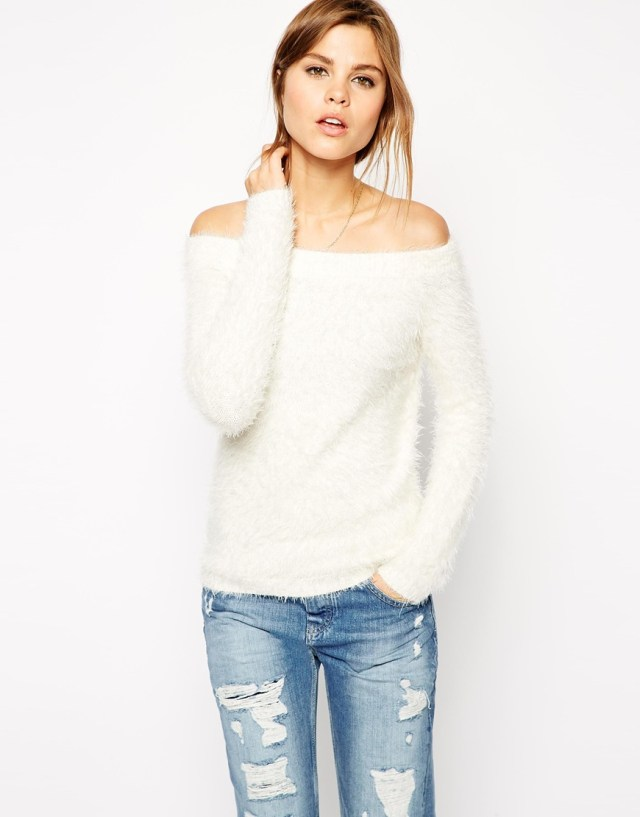 strapless sweater with boyfriend jeans
