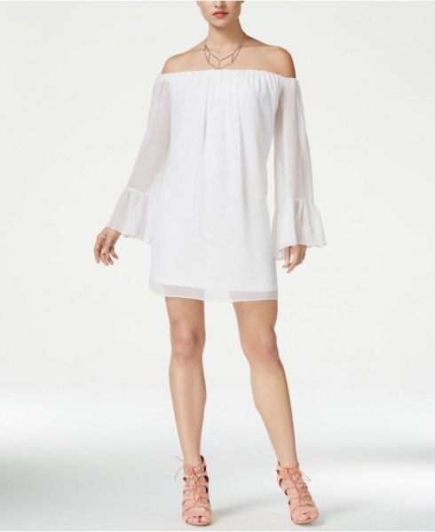off the shoulder bell sleeve white baby doll dress
