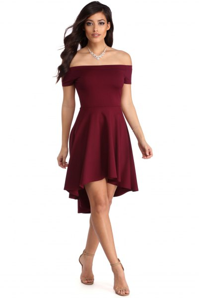 Off-the-shoulder burgundy-colored fit and flare mini dress