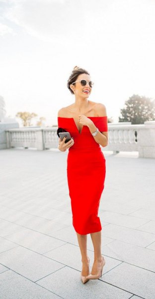 Off-the-shoulder midi dress with deep V-neckline
