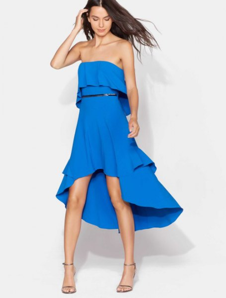 Off the shoulder high low midi summer dress with open toe heels