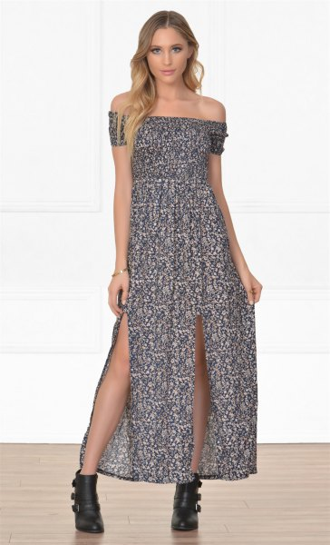 strapless maxi dress ankle boots