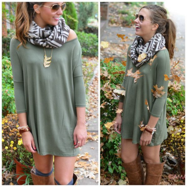 Strapless mini sheath dress with a green and white printed wool scarf