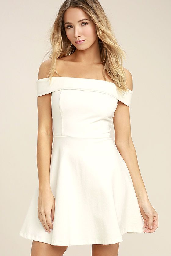 Season of Fun White Off-the-Shoulder Skater Dress | Dresses, Cute .