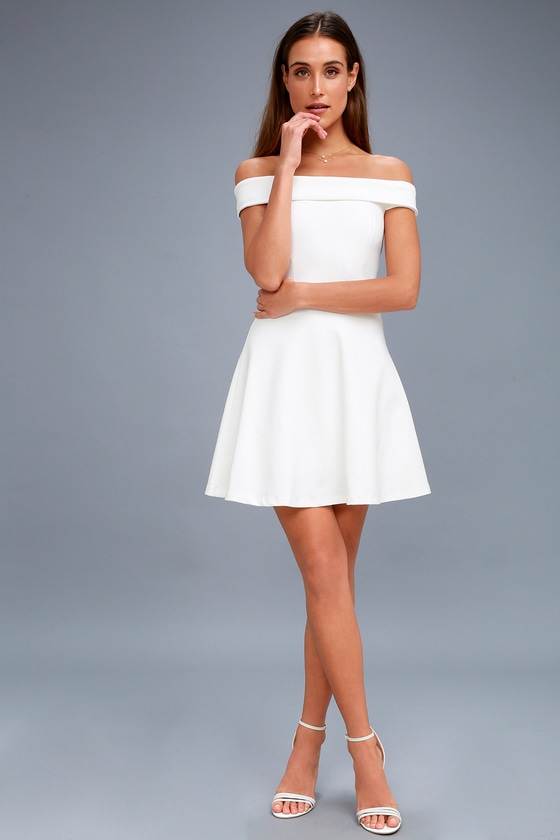 Lulus | Season of Fun White Off-the-Shoulder Skater Dress | Size .