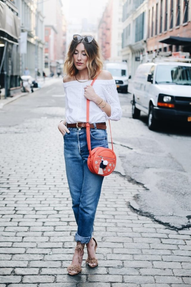 Off-the-shoulder top with boyfriend jeans
