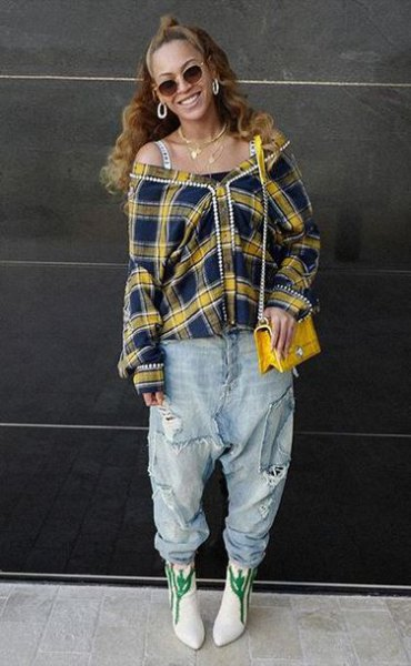 off shoulder yellow plaid shirt with boyfriend jeans