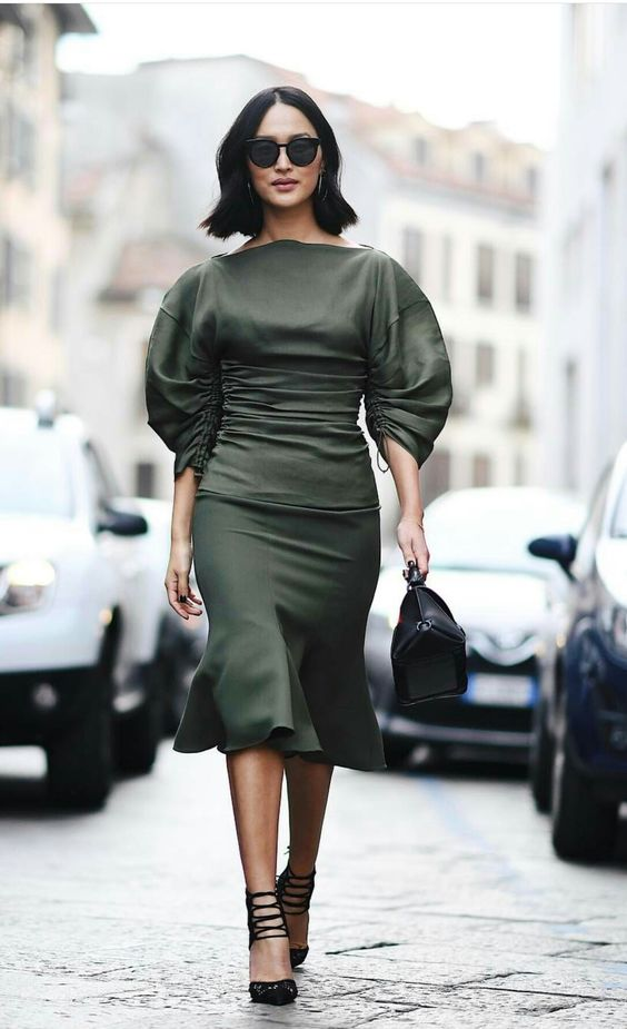 olive green puffed sleeves