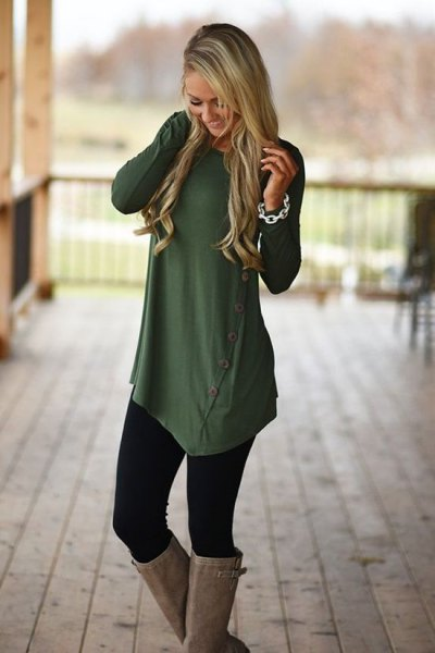 olive green asymmetrical long shirt with buttons, leggings and knee-high boots