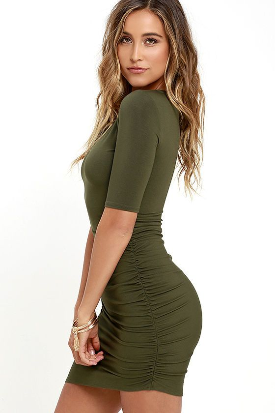 Steal Your Attention Olive Green Bodycon Dress | Green bodycon .