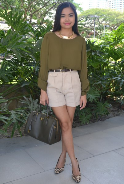 Olive-green chiffon blouse with ivory-colored chino shorts