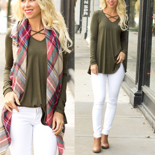 olive green Criss Cross long sleeve tunic top