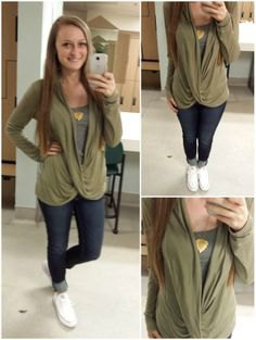 Olive green draped top over gray vest top
