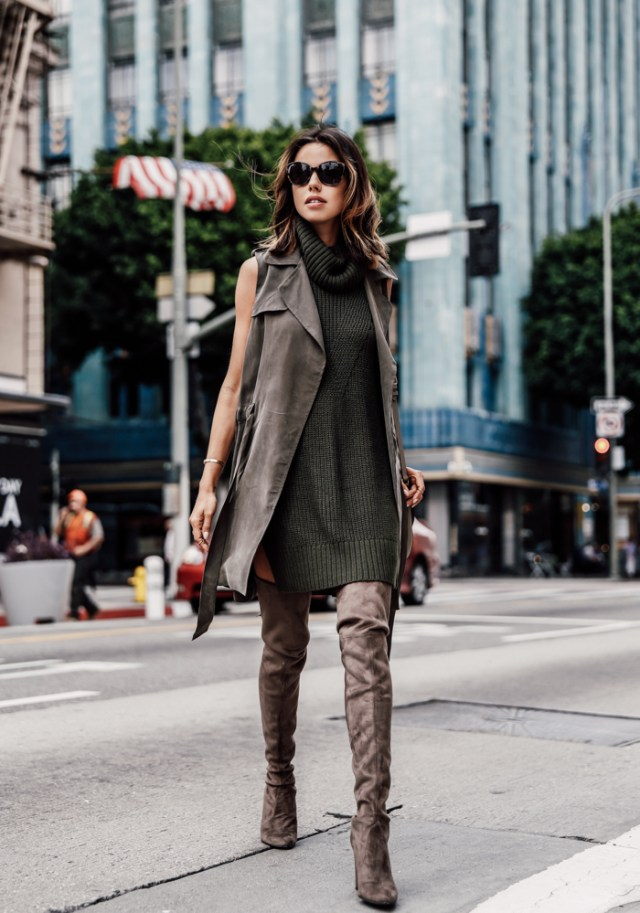 olive green dress knitted