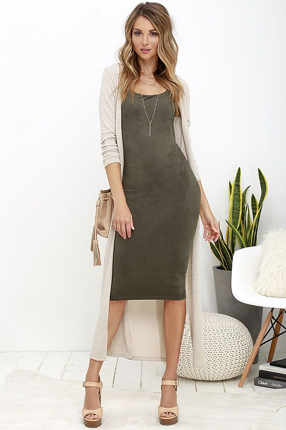Have it Suede Olive Green Midi Dress | Green dress outfit, Body .
