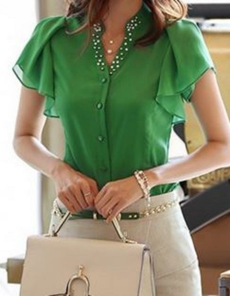 olive-green blouse with fluttering sleeves