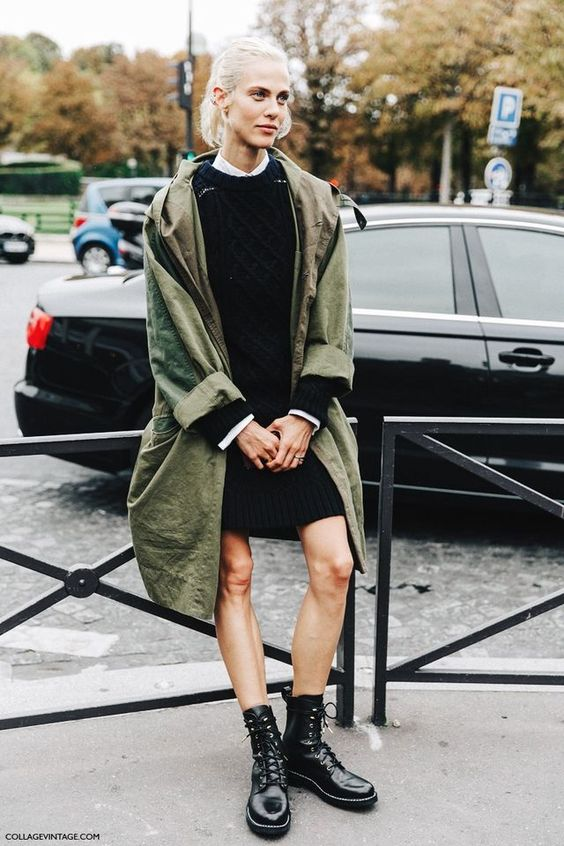 olive green jacket long knitted dress