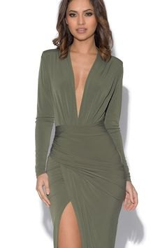 Olive green long sleeve wrap dress with high split